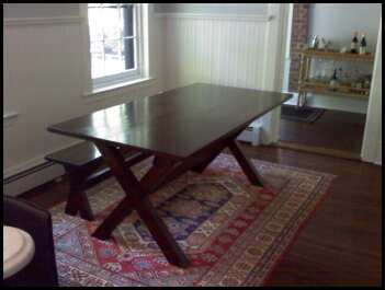 Yellow pine farm house table with cross legs and matching bench