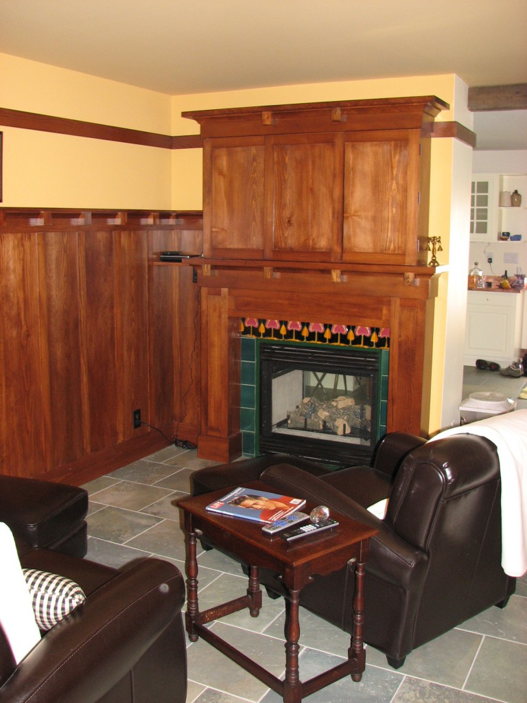 Arts and Crafts Style Fireplace/ Entertainment system