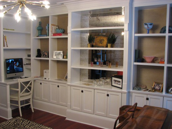 Gentil Library Built In With With Antique Mirror