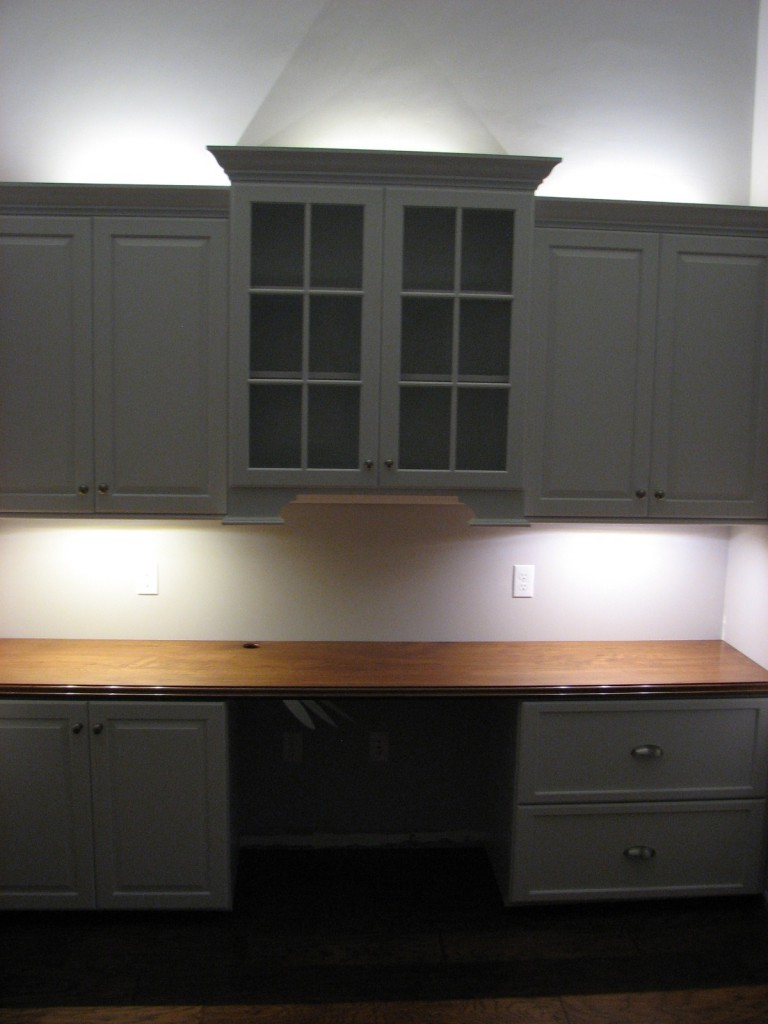 Office Cabinets with Hickory Desk Top